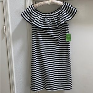 NWT Kate Spade Black Stripe Off Shoulder Dress S M